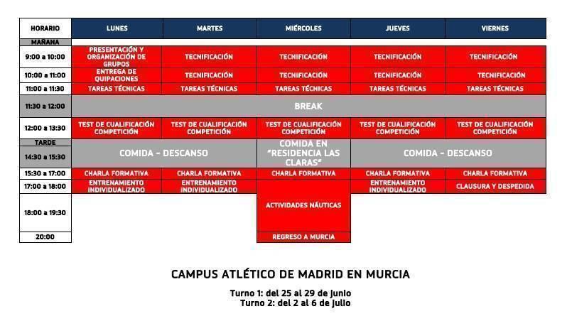 programa deportivo campus atletico de madrid murcia
