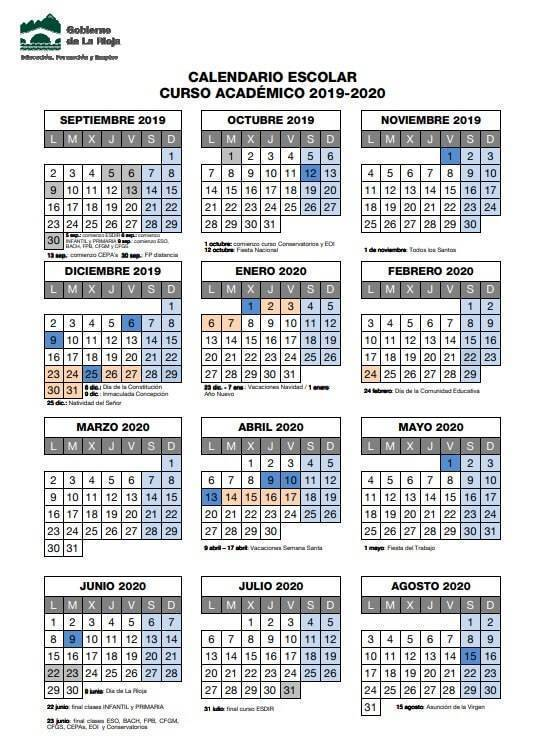Calendario Escolar Cantabria 2020.Calendario Escolar 2019 2020 En La Rioja