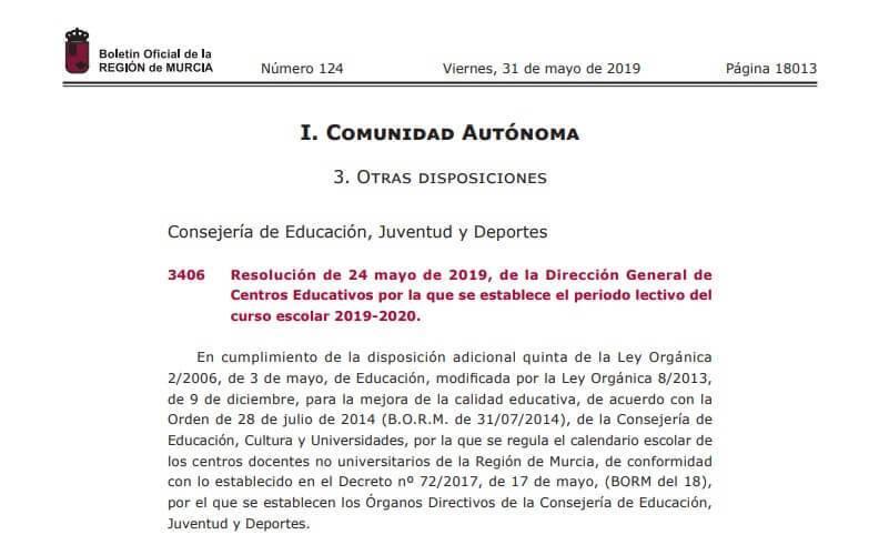 Calendario Escolar Murcia 2019.Calendario Escolar 2019 2020 En Murcia