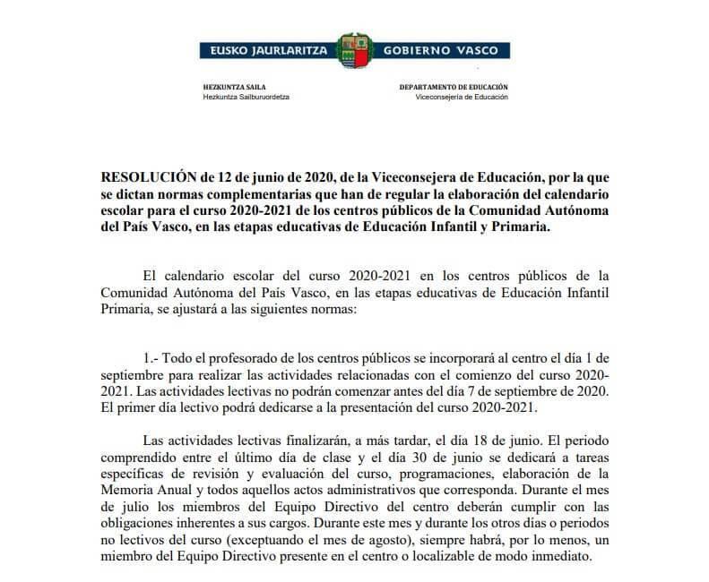 Calendario escolar 2020 2021 en País Vasco 🗓️👨🎓 🏕️☀️