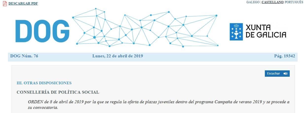 DOG accion de veran 2019 campamentos de la xunta de galicia