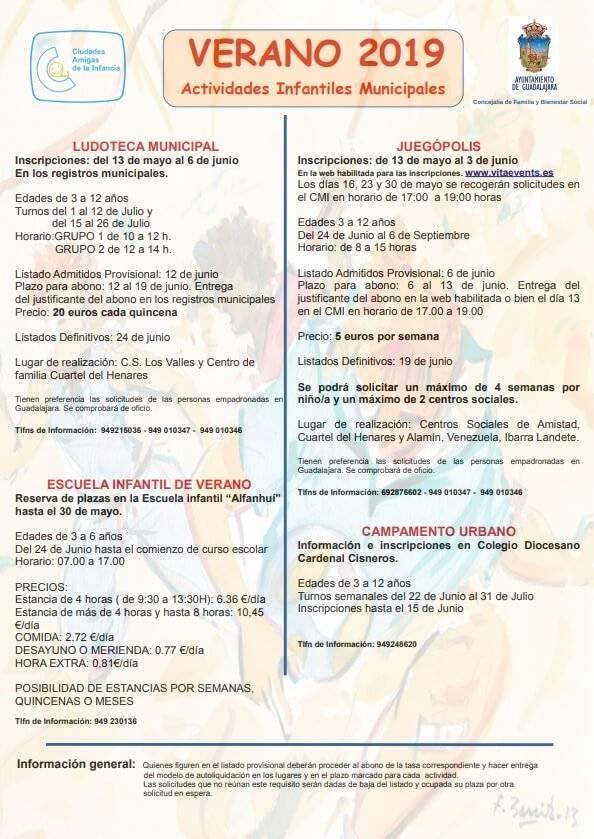 actividades infantiles verano 2019 ayuntamiento guadalajara