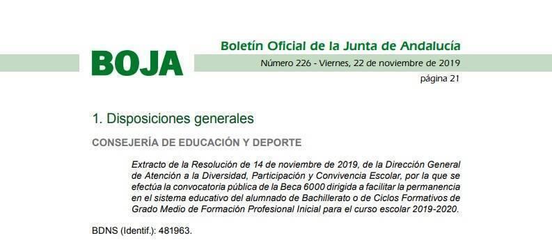 Beca 6000 De La Junta De Andalucía Curso 2019 2020