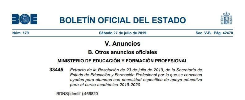 becas y ayudas alumnos necesidad especifica apoyo educativo 2019 2020