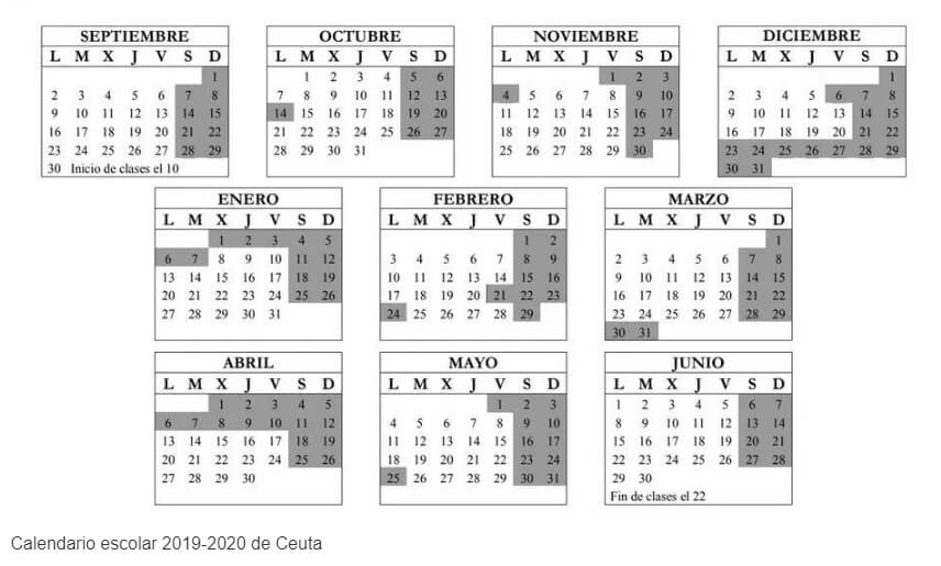 Calendario 2019 Escolar 2020 Madrid.Calendario Escolar 2019 2020 En Ceuta