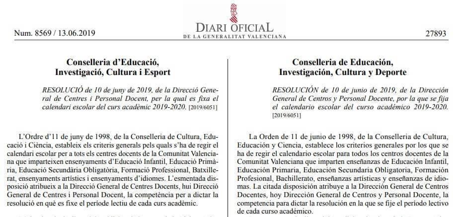 Calendario Escolar Cantabria 2020.Calendario Escolar 2019 2020 En La Comunidad Valenciana