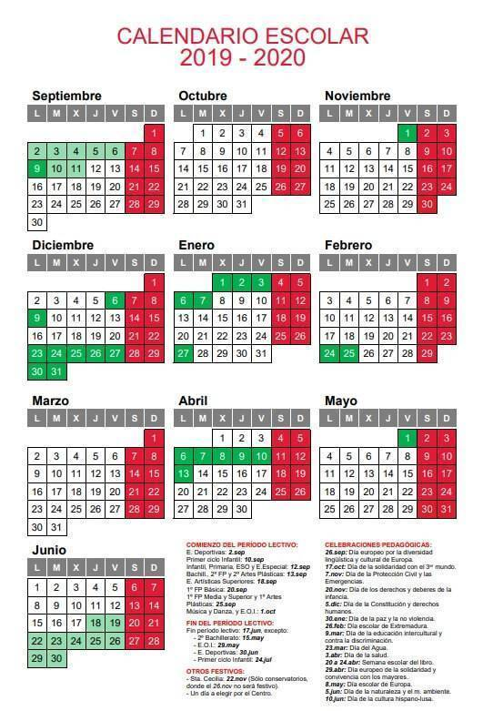 Calendario Laboral 2020 Madrid Capital.Calendario Escolar 2019 2020 En Extremadura