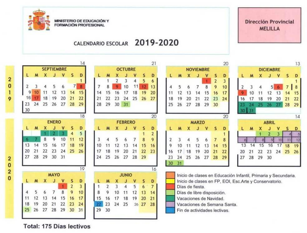 Calendario Laboral Pais Vasco 2019.Calendario Escolar 2019 2020 En Melilla