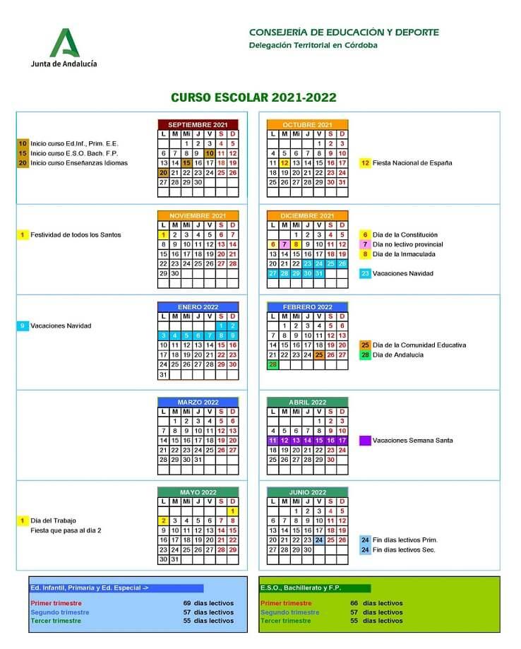Calendario Escolar 2021 2022 En Andalucia