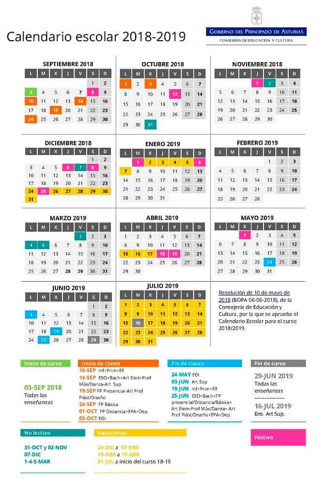 Descargar calendario Asturias 12222 para imprimir