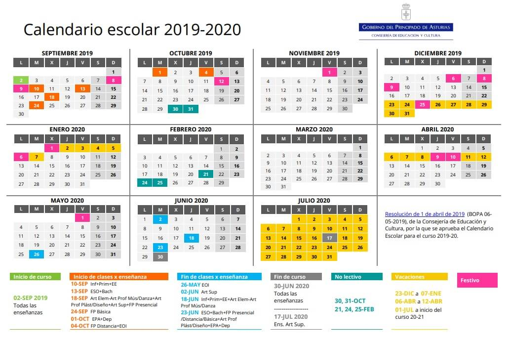 Calendario 2019 Escolar 2020 Madrid.Calendario Escolar 2019 2020 En Asturias