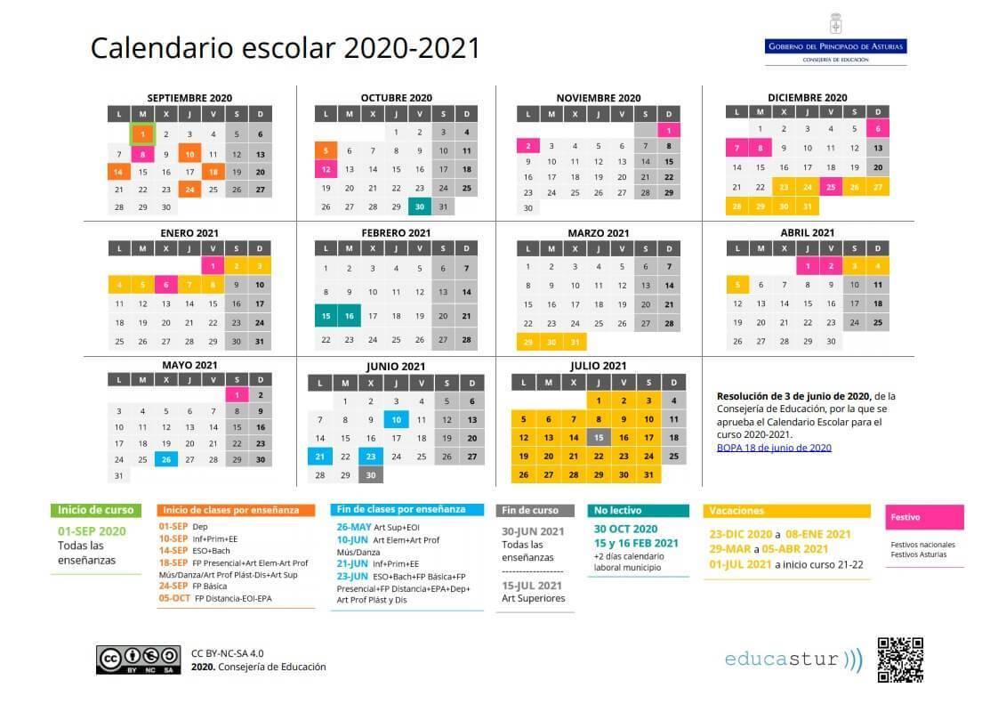 Calendario escolar 2020 2021 en Asturias 🗓️👨🎓 🏕️☀️