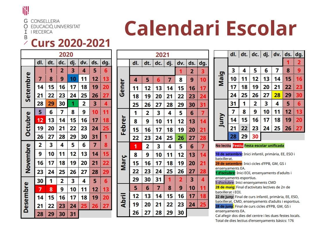 calendario escolar baleares 2020 2021