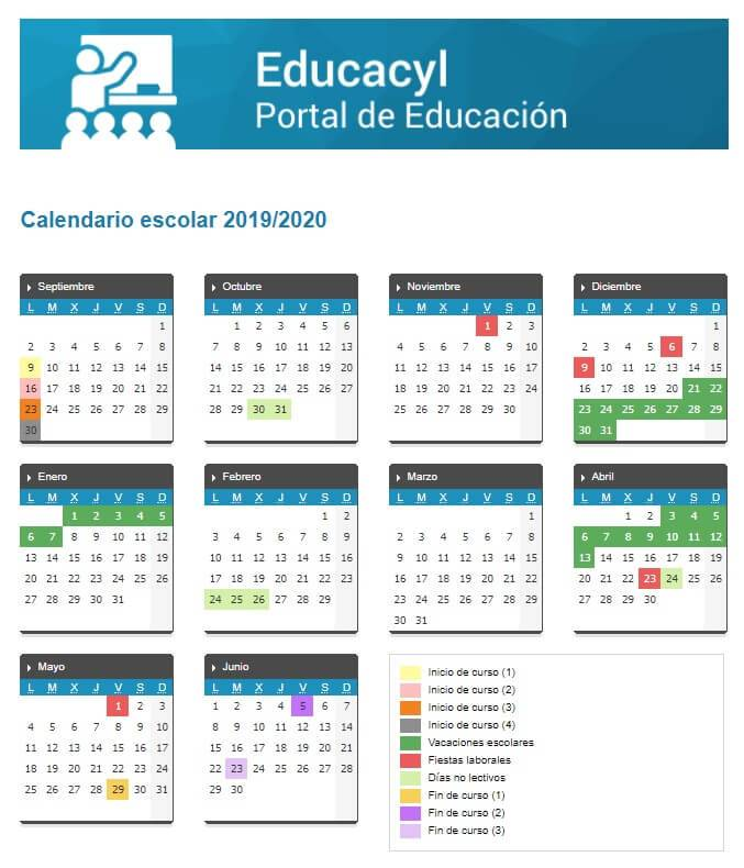 Calendario Escolar Madrid 2020 2019.Calendario Escolar 2019 2020 En Castilla Y Leon