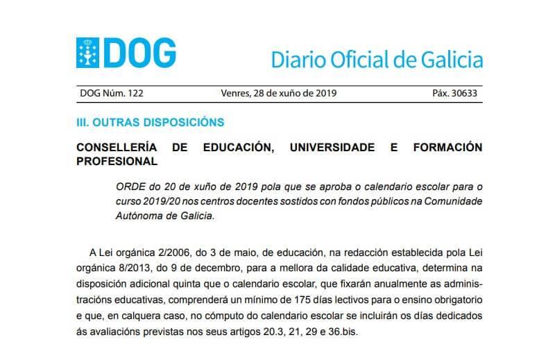 Calendario Diario 2020.Calendario Escolar 2019 2020 En Galicia