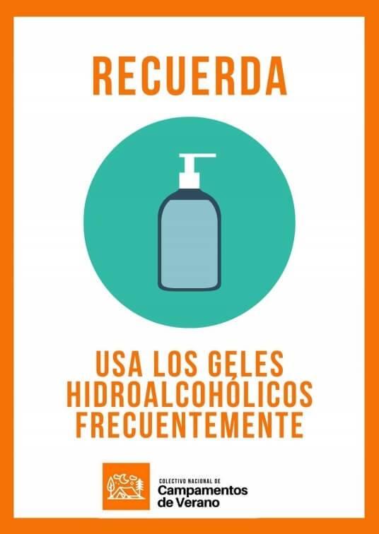 carteleria informativa colectivo campamentos geles hidroalcóholicos