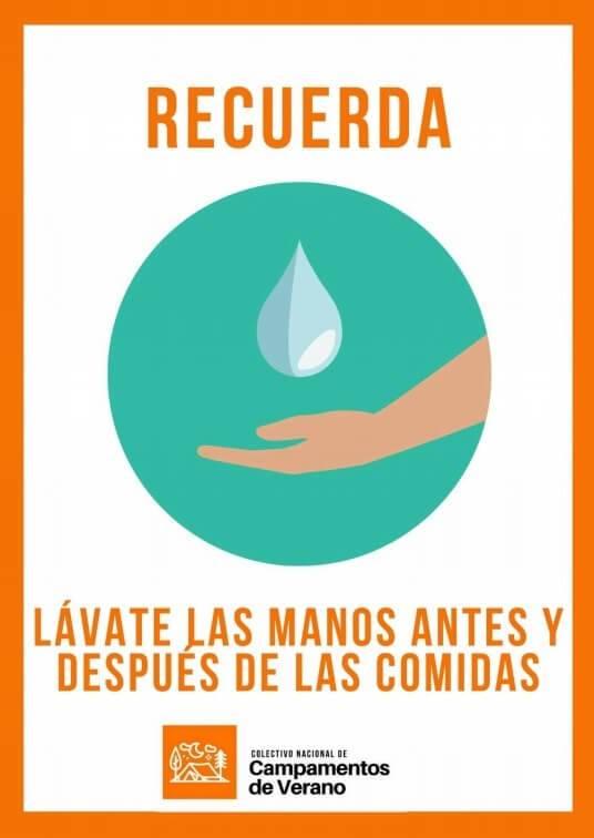 carteleria informativa colectivo campamentos Lávate las manos antes y después de las comidas