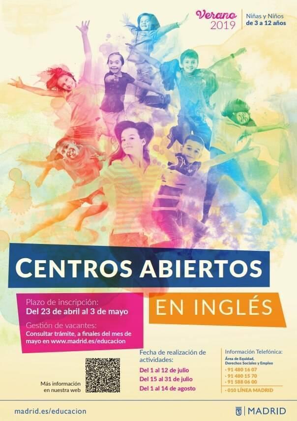 centros abiertos en ingles del ayuntamiento de madrid 2019