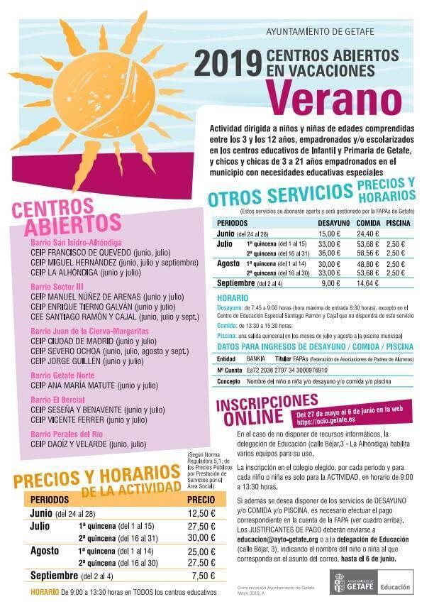 centros abiertos en vacaciones del ayuntamiento de getafe 2019