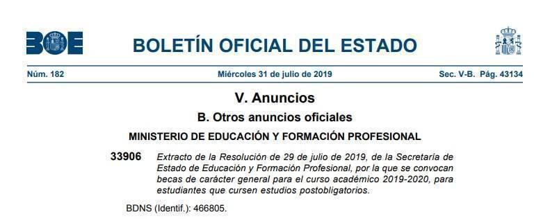 convocatoria becas estudios postobligatorios 2019 2020