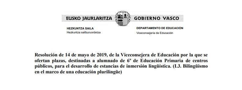 estancias de inmersion en ingles para sexto de primaria financiadas por el gobierno vasco